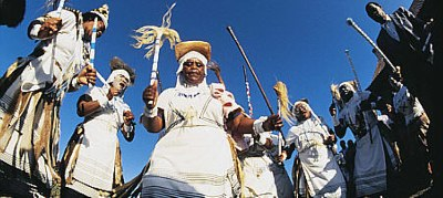A group of Xhosa diviners, dancing